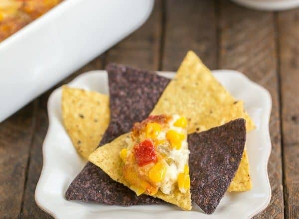 Fiesta Corn Dip   With a double dose of gooey cheese, you'll want to serve this magnificent dip at every gathering!