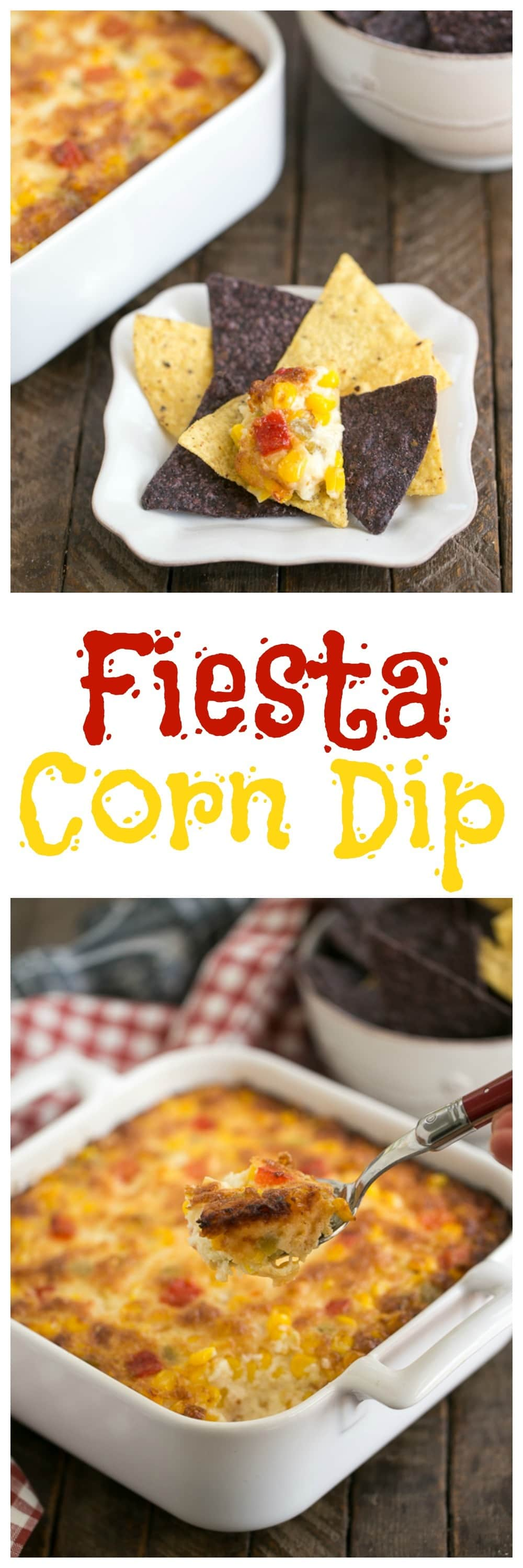 Fiesta Corn Dip - With a double dose of gooey cheese, you'll want to serve this magnificent dip at every gathering! #corndip #cincodemayo #hotdip #cheesedip
