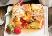 Raspberry Mascarpone French Toast Casserole #SundaySupper
