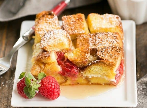 Overnight Berry Stuffed French Toast Casserole | A make ahead breakfast filled with mascarpone cream and fresh raspberries