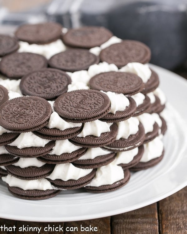 Oreo Icebox Cake on a white serving plate