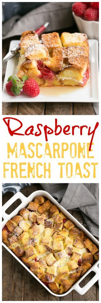 Raspberry Mascarpone French Toast Casserole | A delectable, make ahead breakfast strata filled with mascarpone cream and fresh raspberries