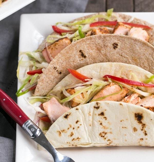 Soft Shell Salmon Tacos with Mango Salsa   Roasted salmon with all the fixings for a sophisticated seafood taco