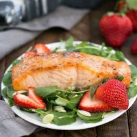 Salmon Watercress Salad with Strawberry Vinaigrette
