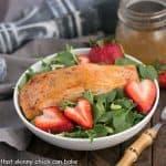 Salmon Watercress Salad with Strawberry Vinaigrette #WondersofWatercress
