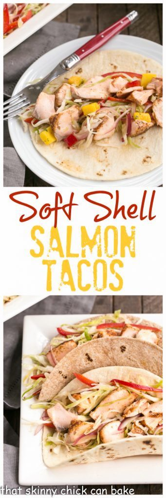 Soft Shell Salmon Tacos with Mango Salsa | Roasted salmon with all the fixings for a sophisticated seafood taco