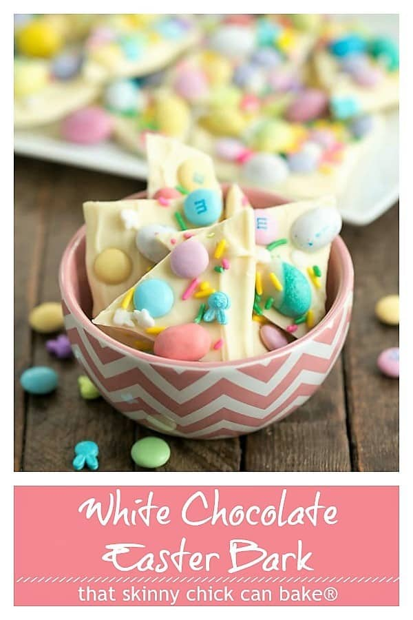 White Chocolate Easter Bark photo and text collage for Pinterest