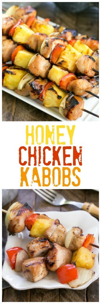 Honey Glazed Chicken Kabobs | Marinated chicken, veggies and pineapple are grilled to perfection!