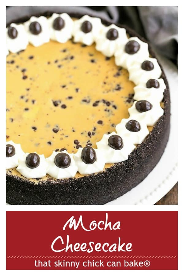 Mocha Cheesecake Pinterest photo and text collage