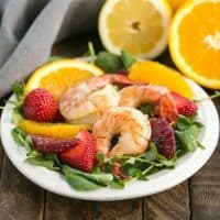 Shrimp & Orange Salad with Citrus Vinaigrette | Crisp greens, juicy orange segments, strawberries and lemon kissed shrimp with a citrus vinaigrette
