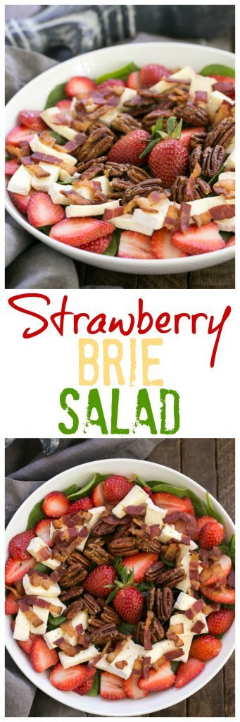 Strawberry Bacon Brie Salad | A spectacular combination of ingredients tossed in a strawberry balsamic vinaigrette