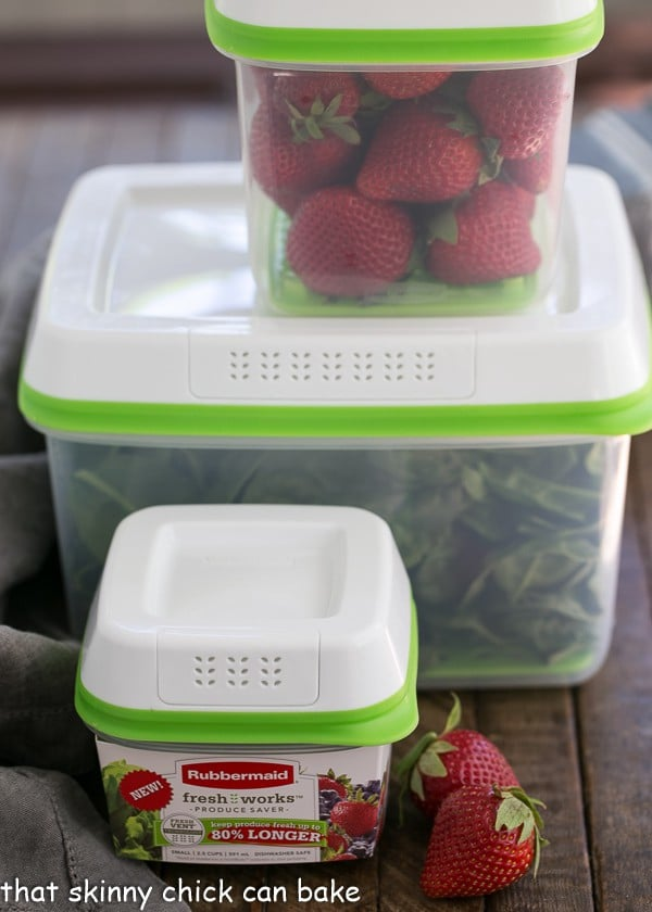 Strawberry Bacon Brie Salad ingredients in plastic containers
