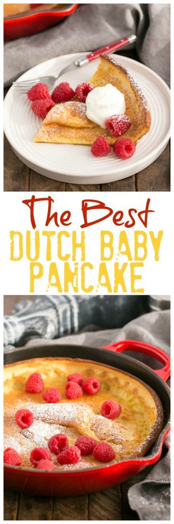 Best Dutch Baby Pancake | A puffed breakfast dish topped with berries, whipped cream and powdered sugar!