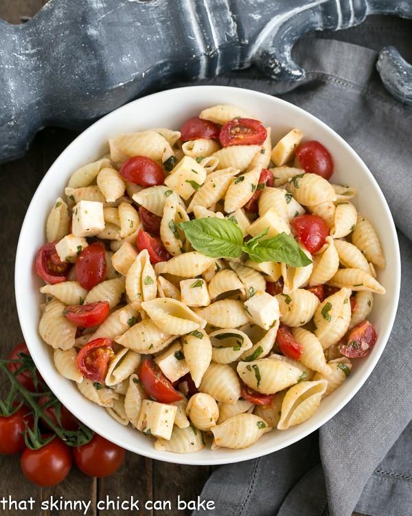 Tomato Basil Pasta Salad with Mozzarella & Fontina