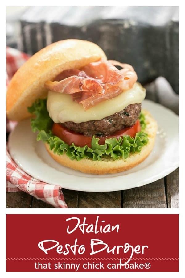 Italian Pesto Burger photo and text pinterest collage
