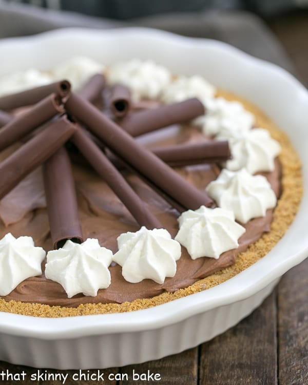 Chocolate Cream Pie in a white ceramic pie plate