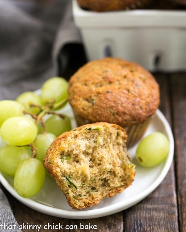 Cinnamon Zucchini Muffins | Tender, moist zucchini muffins kissed with cinnamon!