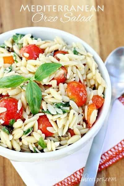 Mediterranean Orzo Salad in a white bowl