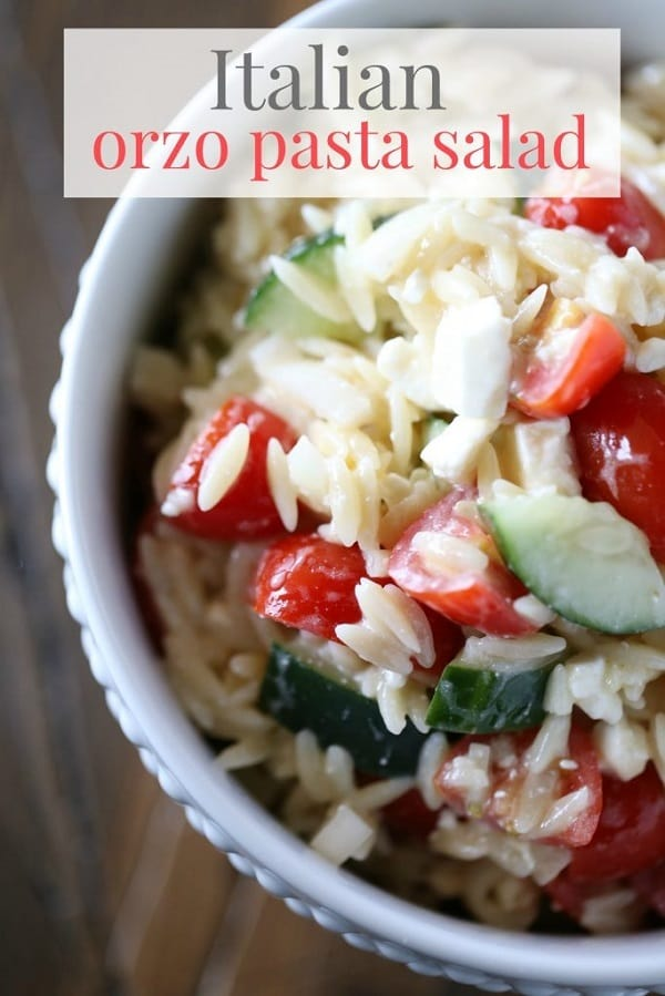 Orzo Pasta Salad in a white ceramic bowl