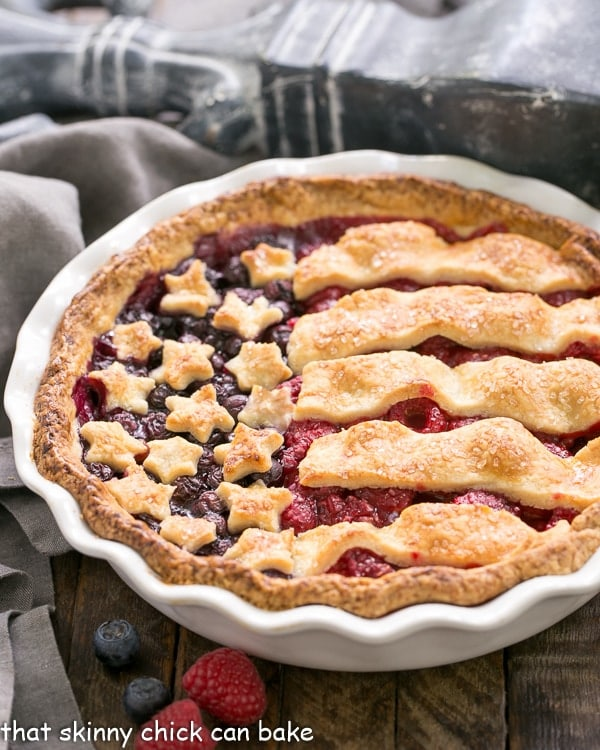 Patriotic Stars and Stripes Berry Pie   A raspberry and blueberry pie topped with pastry stars and stripes makes one festive, patriotic dessert!