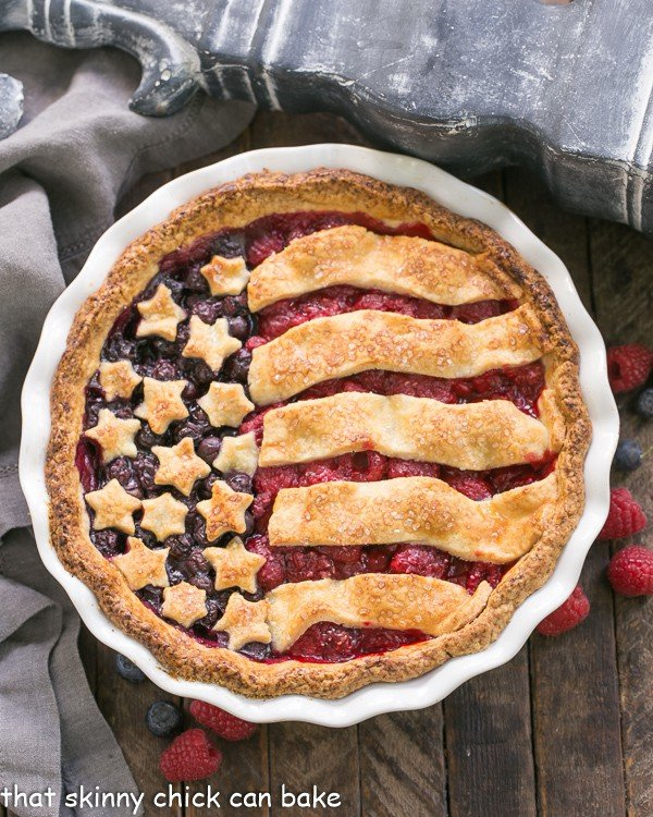Patriotic Stars and Stripes Berry Pie