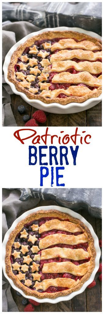 Patriotic Stars and Stripes Berry Pie | A raspberry and blueberry pie topped with pastry stars and stripes makes one festive, patriotic dessert!