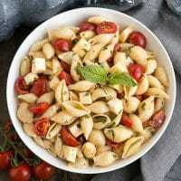 Tomato Basil Pasta Salad with Mozzarella & Fontina - a terrific summer side dish