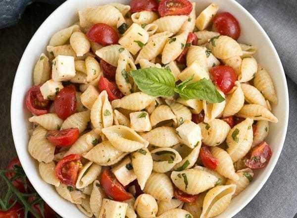 Tomato Basil Pasta Salad with Mozzarella & Fontina - a terrific summer side dish