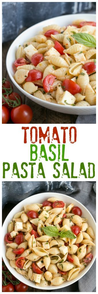 Tomato Basil Pasta Salad with Mozzarella & Fontina | Perfect for pitch-ins,, picnics and summer entertaining!