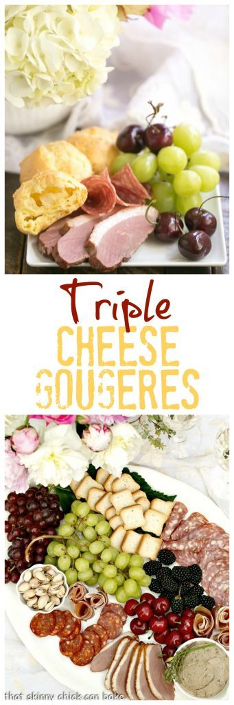 Triple Cheese Gougeres | A terrific addition to a charcuterie platter or cheese board
