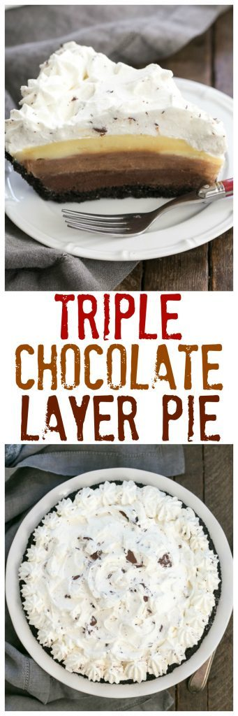 Triple Chocolate Layer Pie Recipe - Cookie crust, 3 rich custards and a cloud of whipped cream!