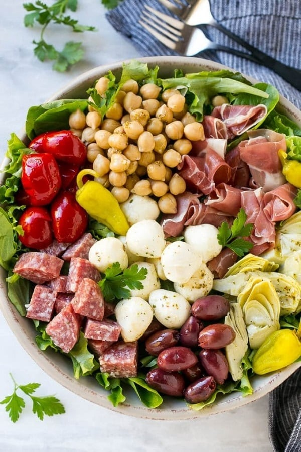 Antipasto Salad overhead shot in a white ceramic bowl