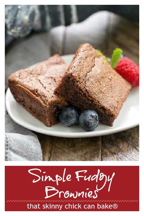 Simple Fudgy Brownies photo and text collage for PInterest