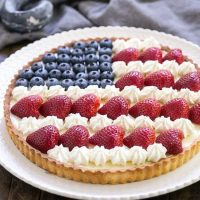 American Flag Fruit Tart | Pate sablee crust, light cream cheese filling and berries and cream stars and stripes!