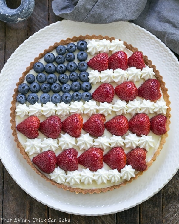 American Flag Fruit Tart on white serving plate