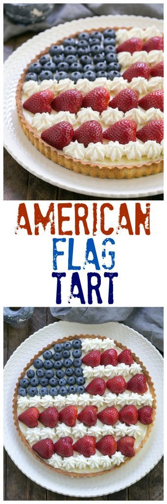 American Flag Fruit Tart   Pate sablee crust, light cream cheese filling and berries and cream stars and stripes!