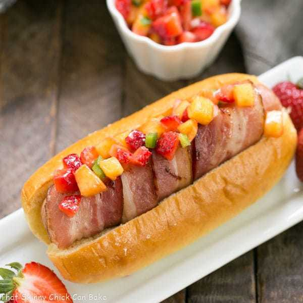 Bacon Wrapped Hot Dogs with Fruit Salsa | An irresistible gourmet dog!