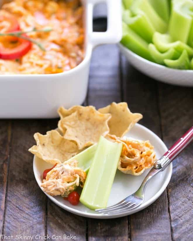 Buffalo Chicken Dip Recipe | A cheesy, spicy chicken dip with the flavors of buffalo chicken wings!