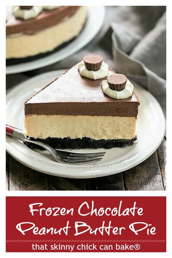 Frozen Chocolate Peanut Butter Pie Pinterest text and photo collage