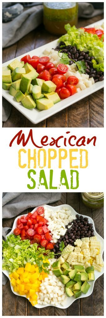 Mexican Chopped Salad with Cilantro Vinaigrette | A marvelous salad chock full of veggies and topped with a lime, cilantro dressing with a touch of heat!