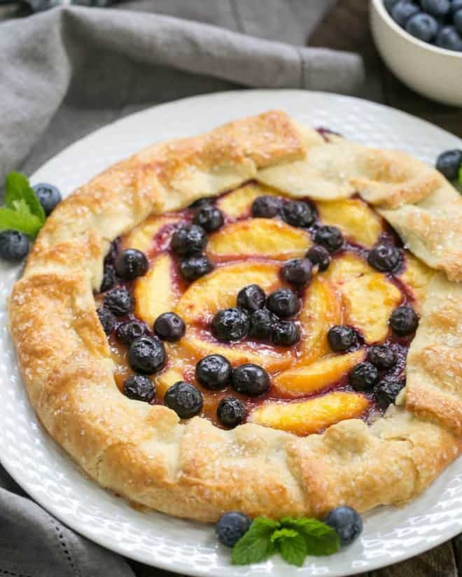 Peach Blueberry Galette | A gorgeous summer dessert with all the flavors of pie without all the work!