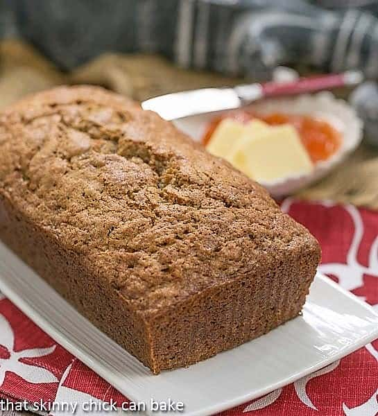 Loaf of Cinnamon Spiced Zucchini Bread Recipe on a white tray