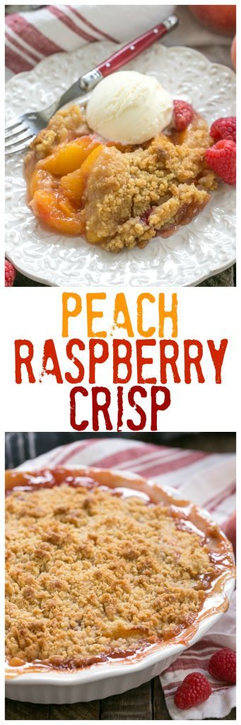 Peach Raspberry Crisp | An easy, heavenly summer dessert that's easy and unforgettable!!