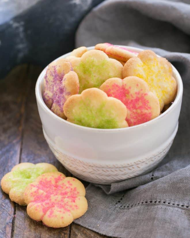 Classic Vanilla Spritz Cookies in a white bowl