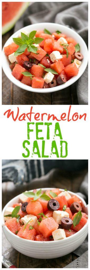 Watermelon Feta and Basil Salad | An unusual, refreshing and irresistible summer side dish!