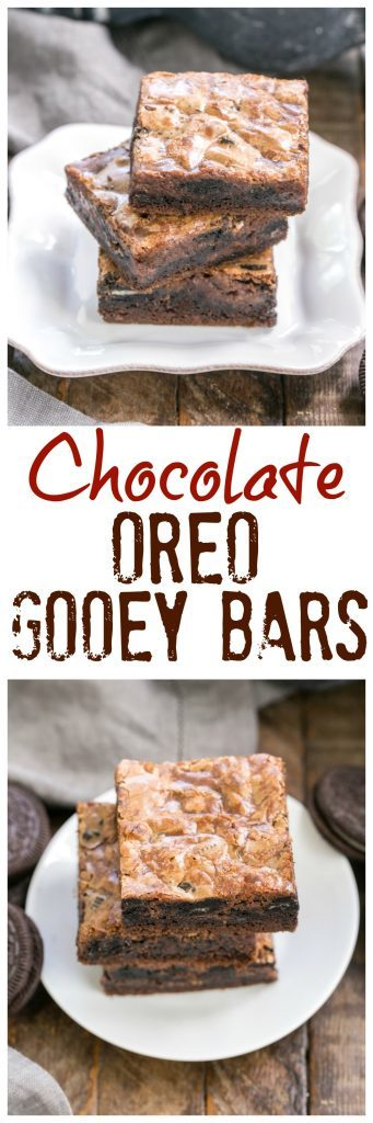 Chocolate Oreo Gooey Bars photo and text collage