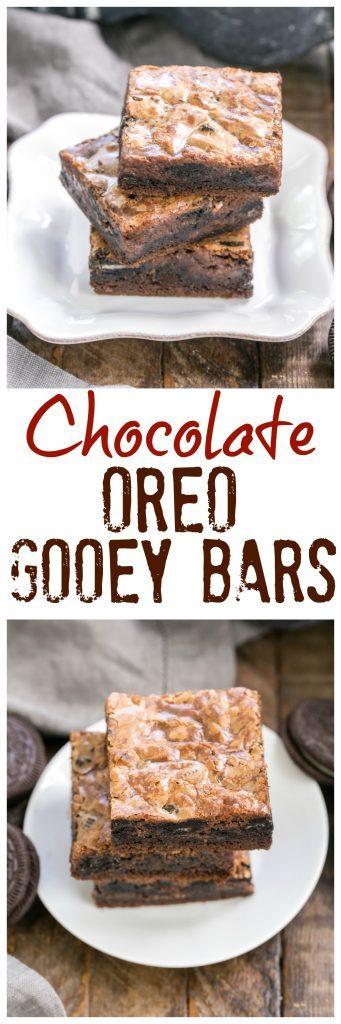 Chocolate Oreo Gooey Bars | The classic gooey bars with a chocolate and Oreo twist!