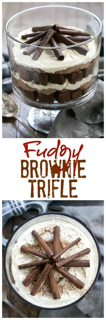 Fudgy Brownie Trifle with Chocolate Mousse | 3 outrageously delicious layers plus chocolate curls!