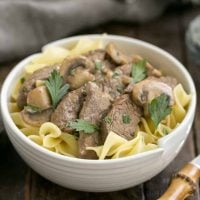 Easy Beef Stroganoff | A classic skillet dinner with beef, mushrooms and a cognac cream sauce!