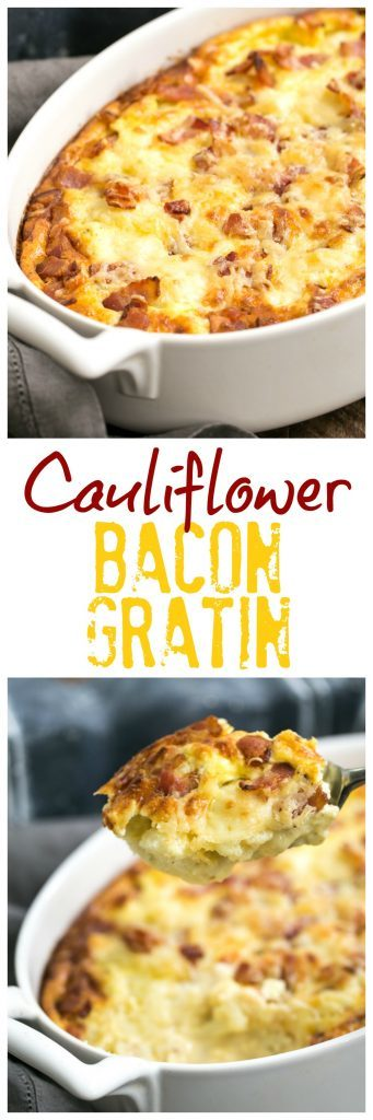 Cauliflower Bacon Gratin | Comforting cheesy cauliflower casserole